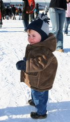 bundled up in snow