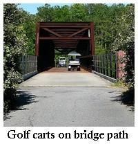 golf carts on bridge path