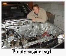 EV donor car engine bay