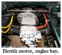 electric car motor, engine bay