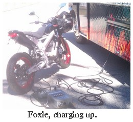 zero electric motorcycle charging up