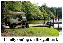 golf cart, family, and pond