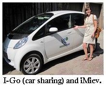 Mitsubishi imiev and I-go car sharing