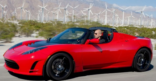 2008 red tesla roadster