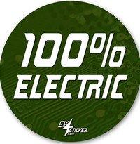 100 percent electric sticker