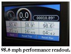 EV acceleration performance readout