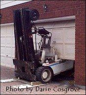 Baker Forklift meets garage