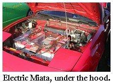 electric Miata, under hood