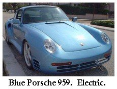 blue electric porsche 959