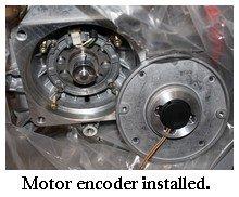EV motor encoder installed