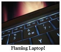 flaming laptop