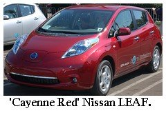 nissan leaf cayenne red