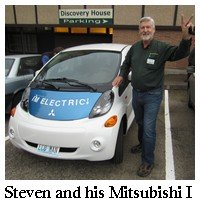 Steven Lough and his Mitsubishi i electric car