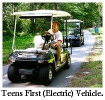 teen on golf cart
