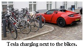 tesla electric car with bikes
